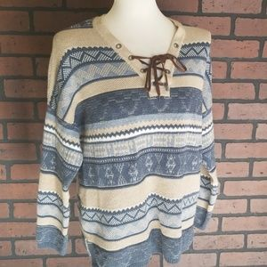 Chaps lace up long sleeve sweater large